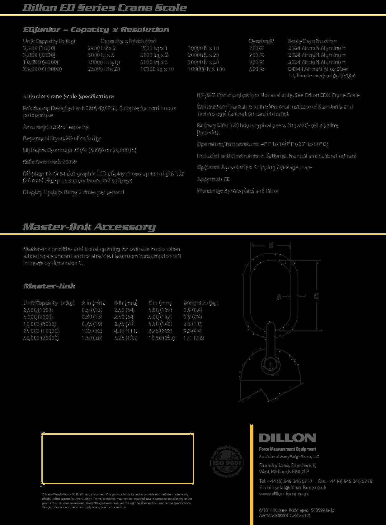 Dillon ED Series Crane Scale Capacity Resolution