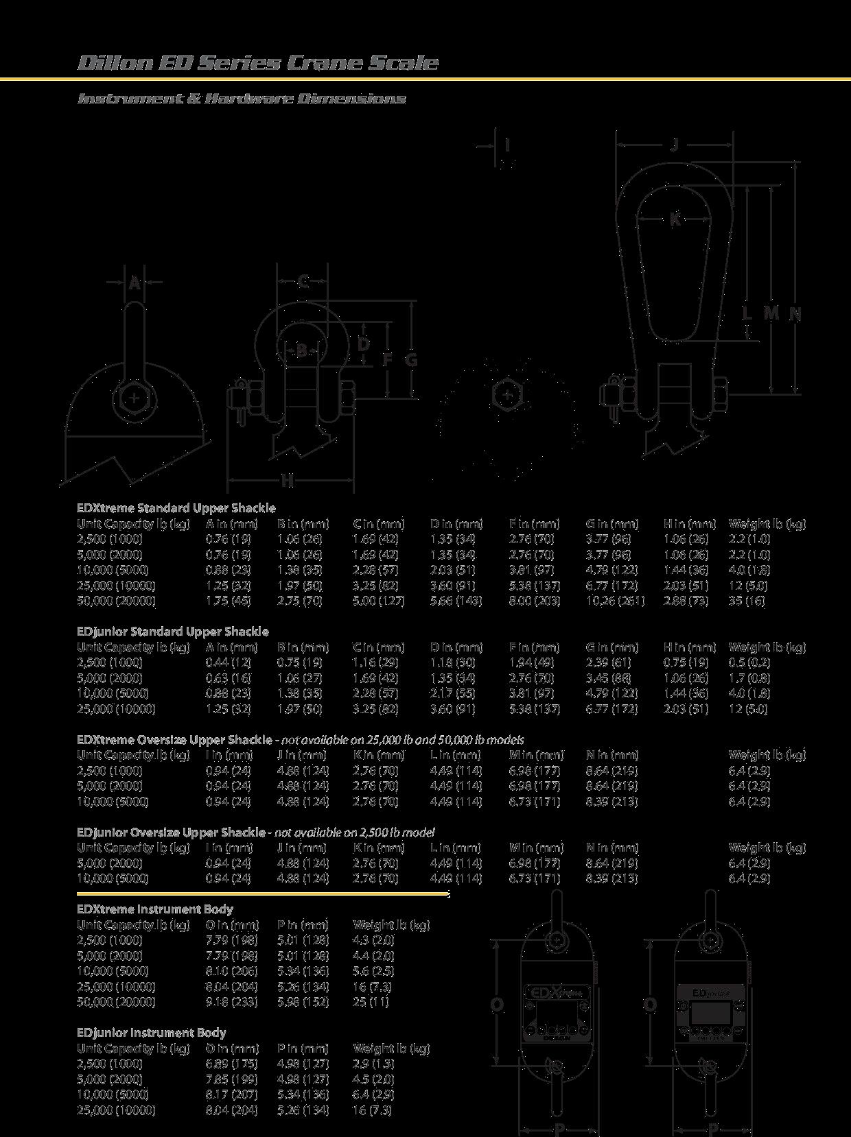 Dillon ED Series Crane Scale Dimensions